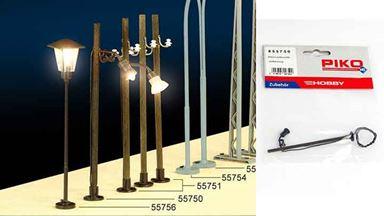 PIKO 55750 — Уличный фонарь на деревянном столбе ~90 мм (свет), 1:72—1:100