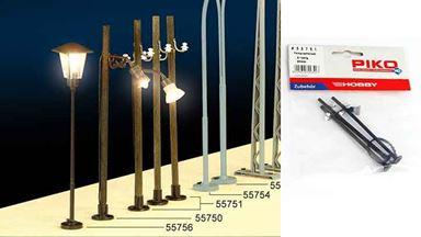 PIKO 55751 — 2 телеграфных столба и фонарь ~90 мм, 1:72—1:100