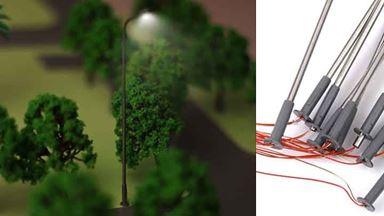 CMOD S100-02 — Городские уличные фонари ~100мм (белый свет) 10 шт., 1:72—1:100