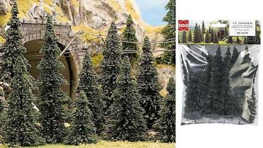 BUSCH 6470 — Ели (пихты) (15 деревьев ~60—135мм), 1:35-1:100