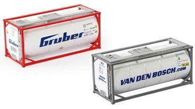 CMOD TCN08720x2 G&VDB — 20 футовые танк-контейнеры 2 шт., («Gruber» и «VAN DEN BOSCH»), 1:87