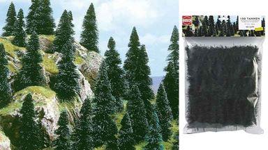 BUSCH 6499 — Хвойный лес (100 деревьев ~40—90мм), 1:72—1:120