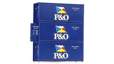 PIKO 56200 — 20 футовые морские контейнеры «P&O» (3 шт.), 1:87