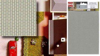 BUSCH 7035 — Брусчатка (картон ~210×148мм, 2 шт.), 1:72—1:120