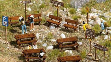 BUSCH 1484 — Набор место отдыха в лесу, горах, привал, 1:87