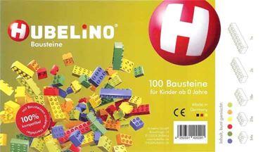 HUBELINO 400291 — 100 штук различных разноцветных блоков, совместимых LEGO Duplo®