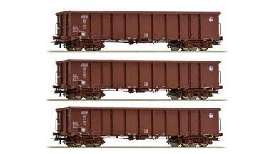 ROCO 76091 — Полувагоны Eanos (3 шт.), H0, VI, HZ Cargo