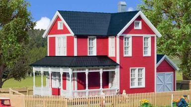 KIBRI 38840 — Загородный красный «шведский» дом, 1:87