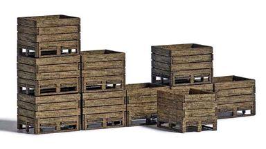 BUSCH 1980 — Ящики для сбора урожая (10 шт. из натурального дерева), 1:87
